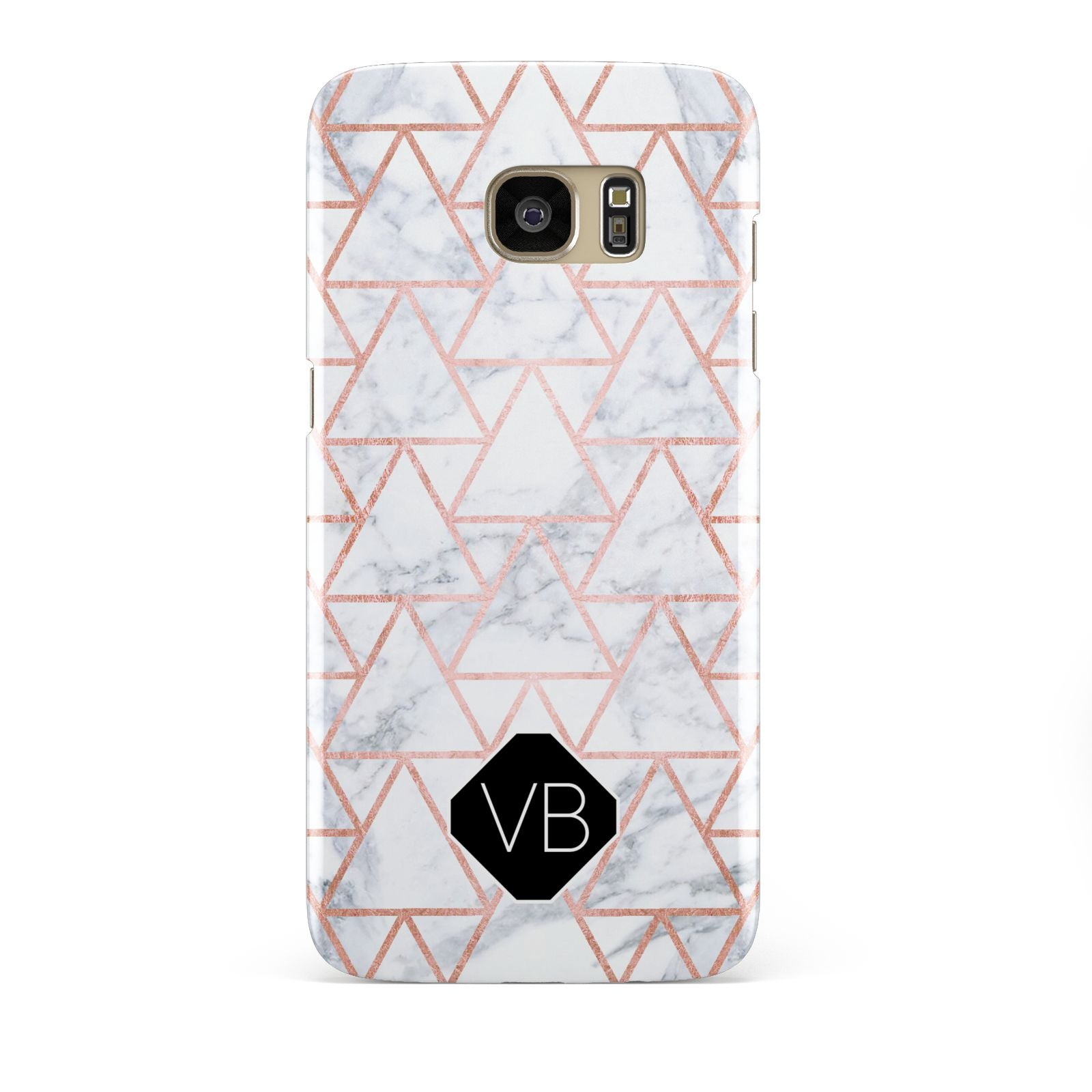 Personalised Rose Gold Grey Marble Hexagon Samsung Galaxy S7 Edge Case