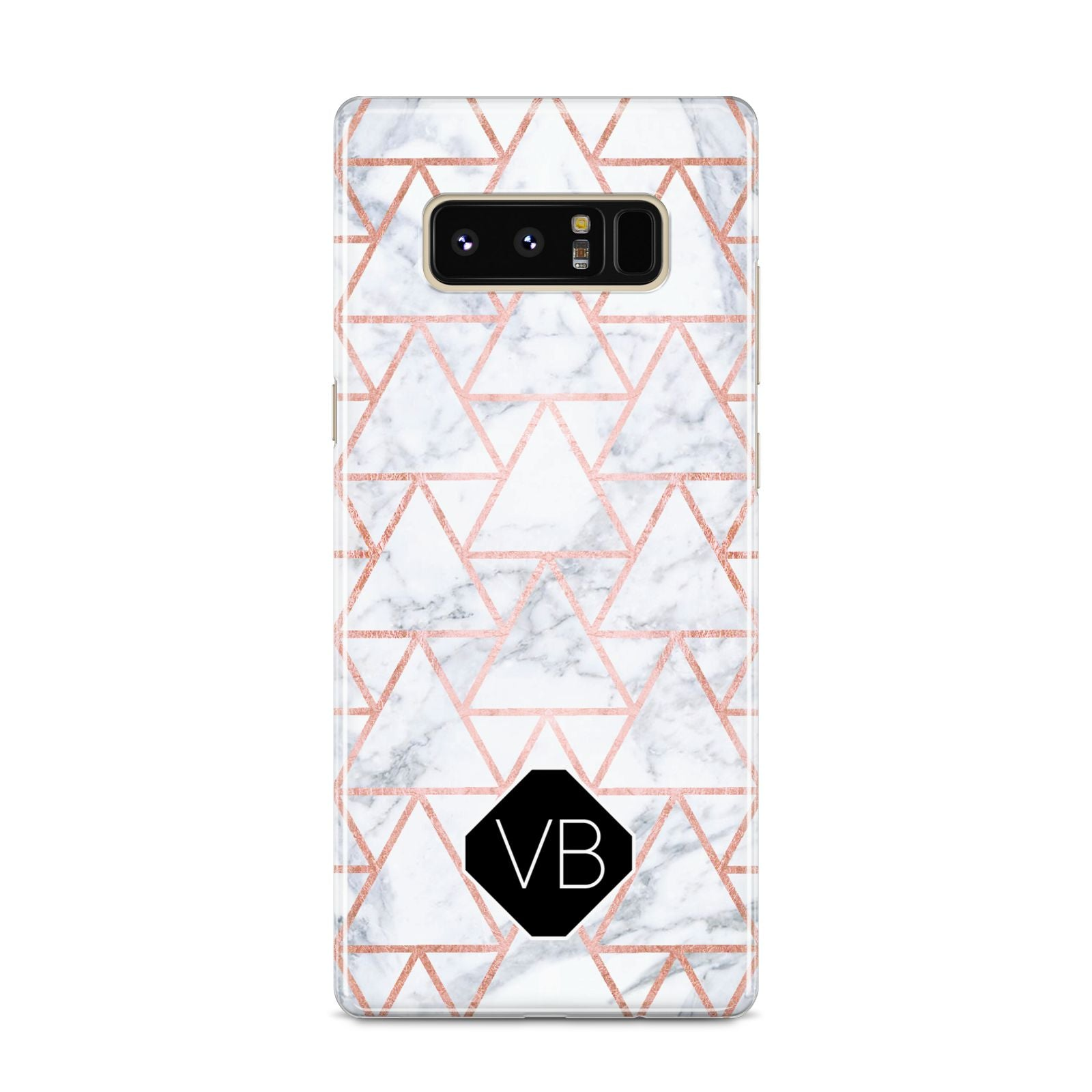 Personalised Rose Gold Grey Marble Hexagon Samsung Galaxy S8 Case