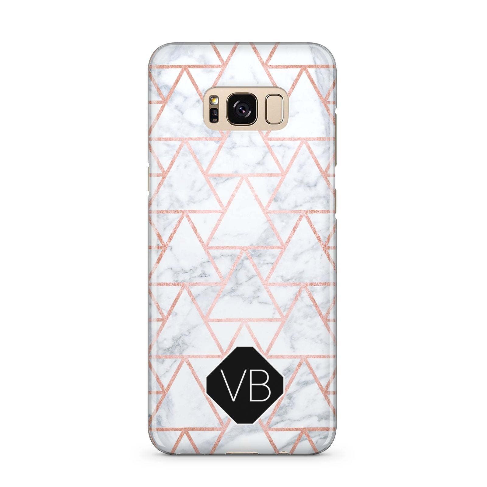 Personalised Rose Gold Grey Marble Hexagon Samsung Galaxy S8 Plus Case