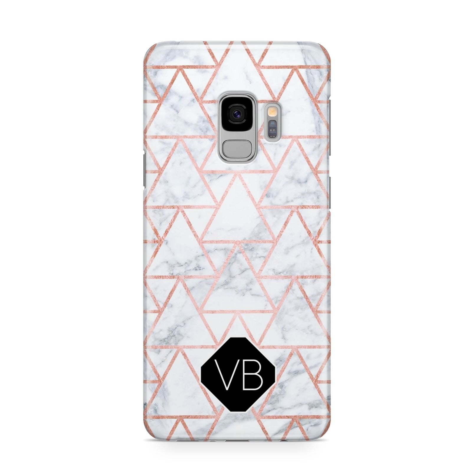 Personalised Rose Gold Grey Marble Hexagon Samsung Galaxy S9 Case