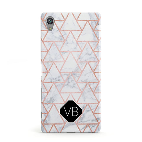 Personalised Rose Gold Grey Marble Hexagon Sony Xperia Case