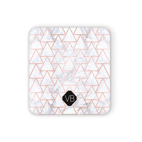 Personalised Rose Gold Grey Marble Hexagon Coasters set of 4