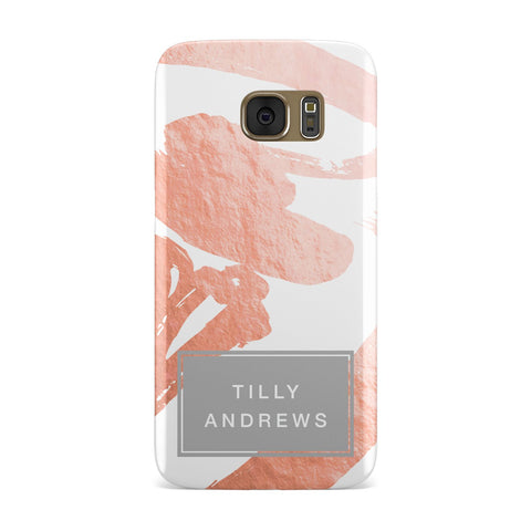 Personalised Rose Gold Leaf & Name Samsung Galaxy Case