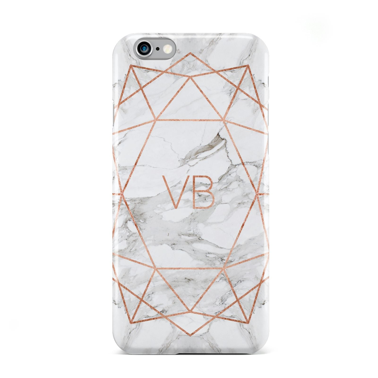 Personalised Rose Gold Marble Initials Apple iPhone 6 Case