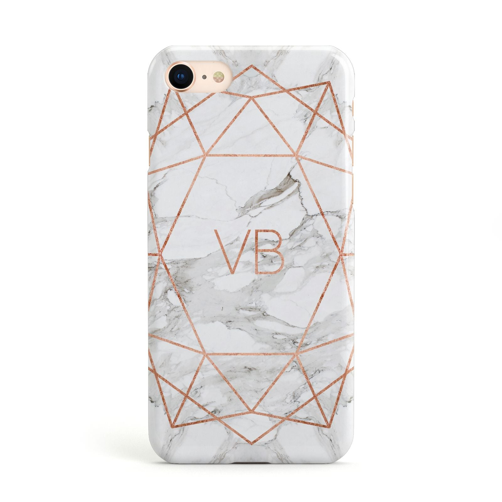 Personalised Rose Gold Marble Initials Apple iPhone Case