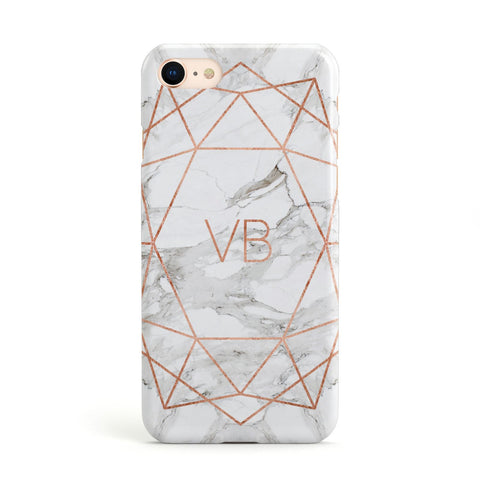 Personalised Rose Gold & Marble Initials Apple iPhone Case
