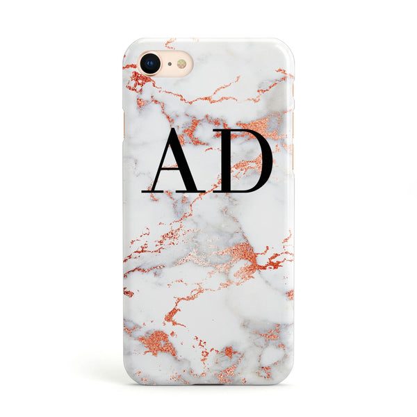 meet 1c560 305da Personalised Rose Gold Marble Initials Apple iPhone Case