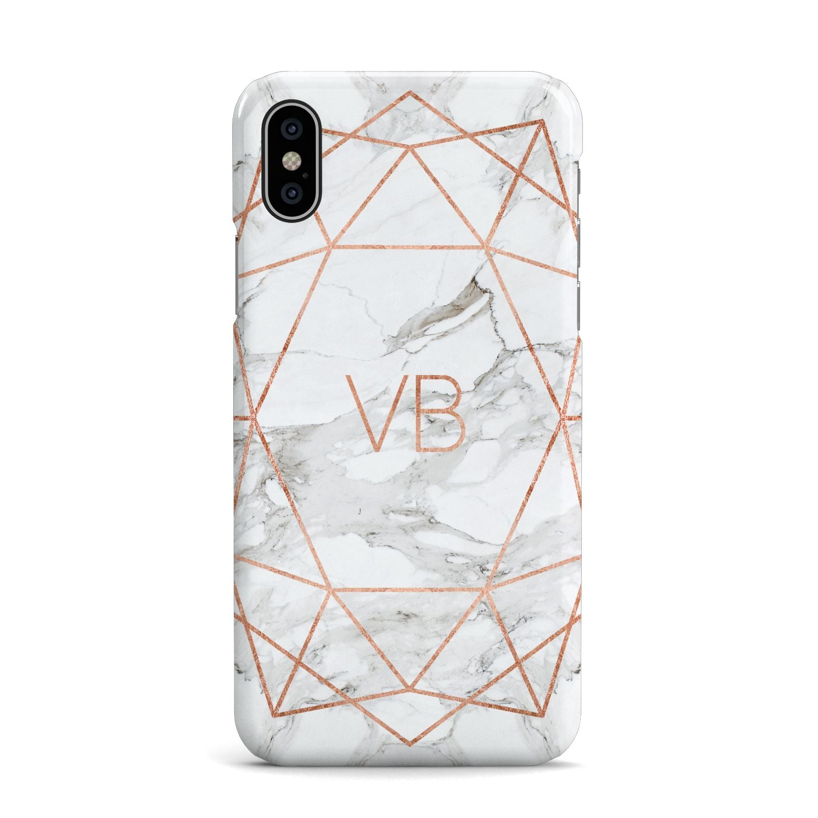 Personalised Rose Gold Marble Initials Apple iPhone X Case