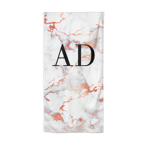 Personalised Rose Gold Marble Initials Beach Towel