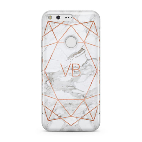 Personalised Rose Gold & Marble Initials Google Case