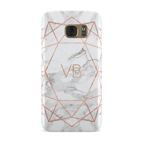 Personalised Rose Gold & Marble Initials Samsung Galaxy Case