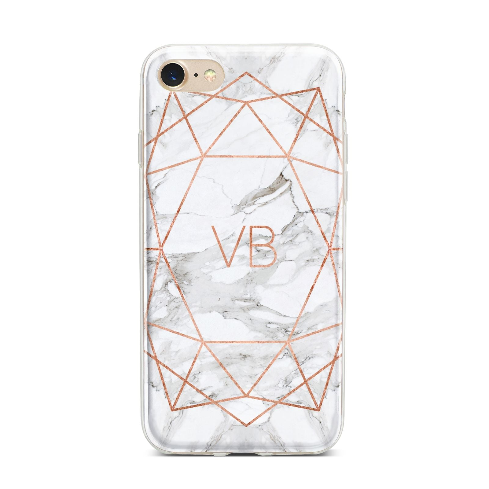 Personalised Rose Gold Marble Initials iPhone 7 Bumper Case on Gold iPhone