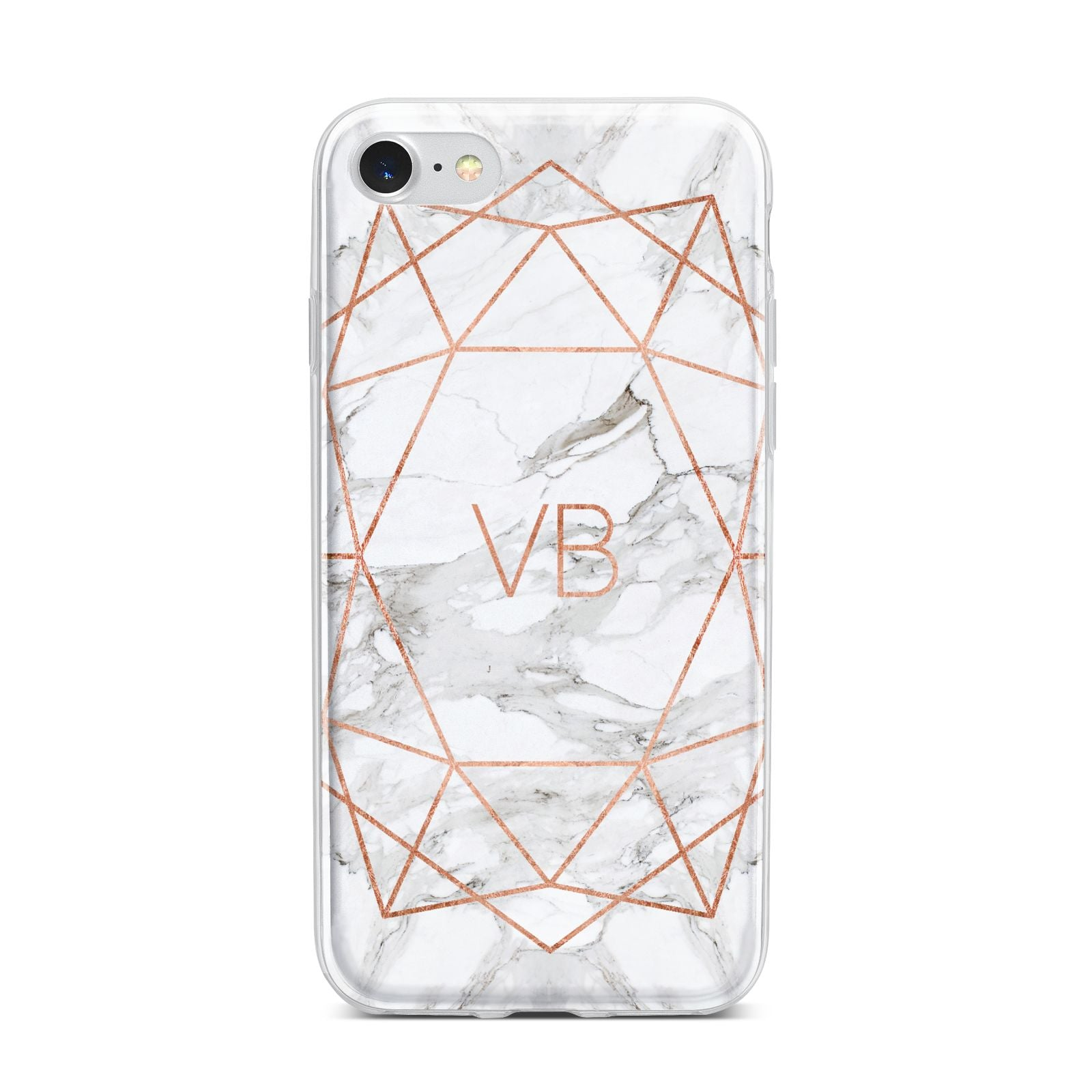 Personalised Rose Gold Marble Initials iPhone 7 Bumper Case on Silver iPhone