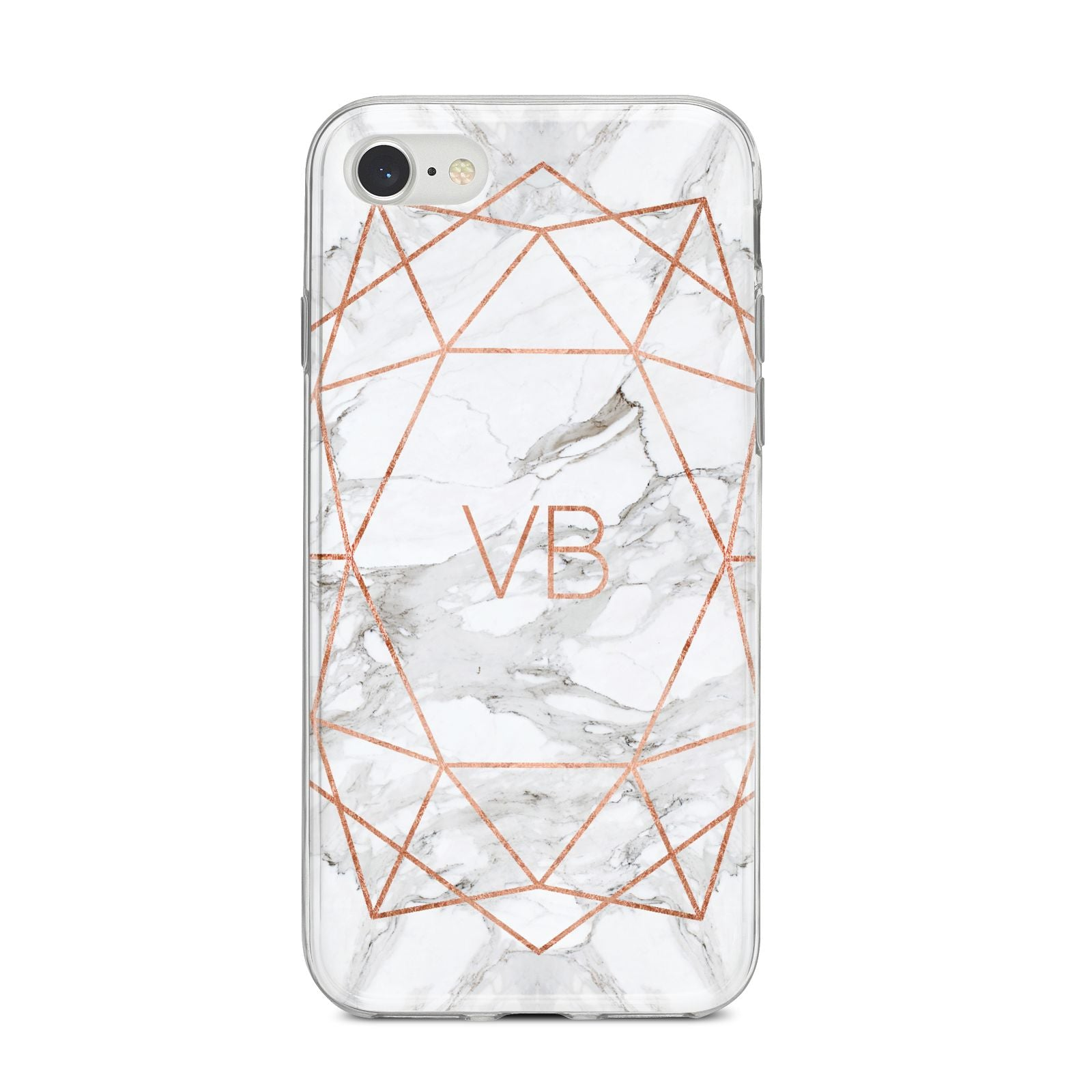 Personalised Rose Gold Marble Initials iPhone 8 Bumper Case on Silver iPhone