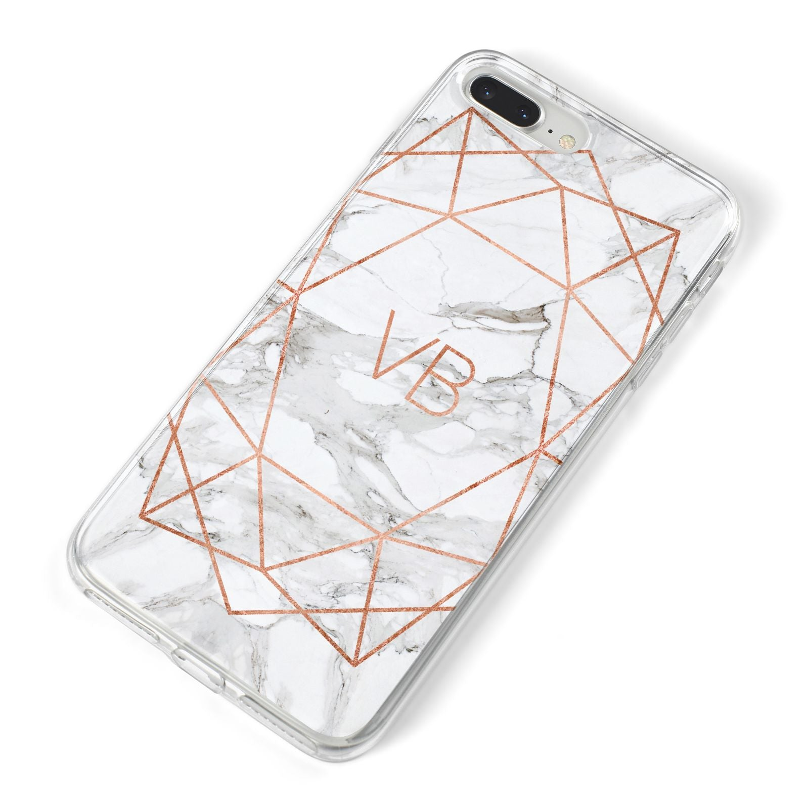 Personalised Rose Gold Marble Initials iPhone 8 Plus Bumper Case on Silver iPhone Alternative Image
