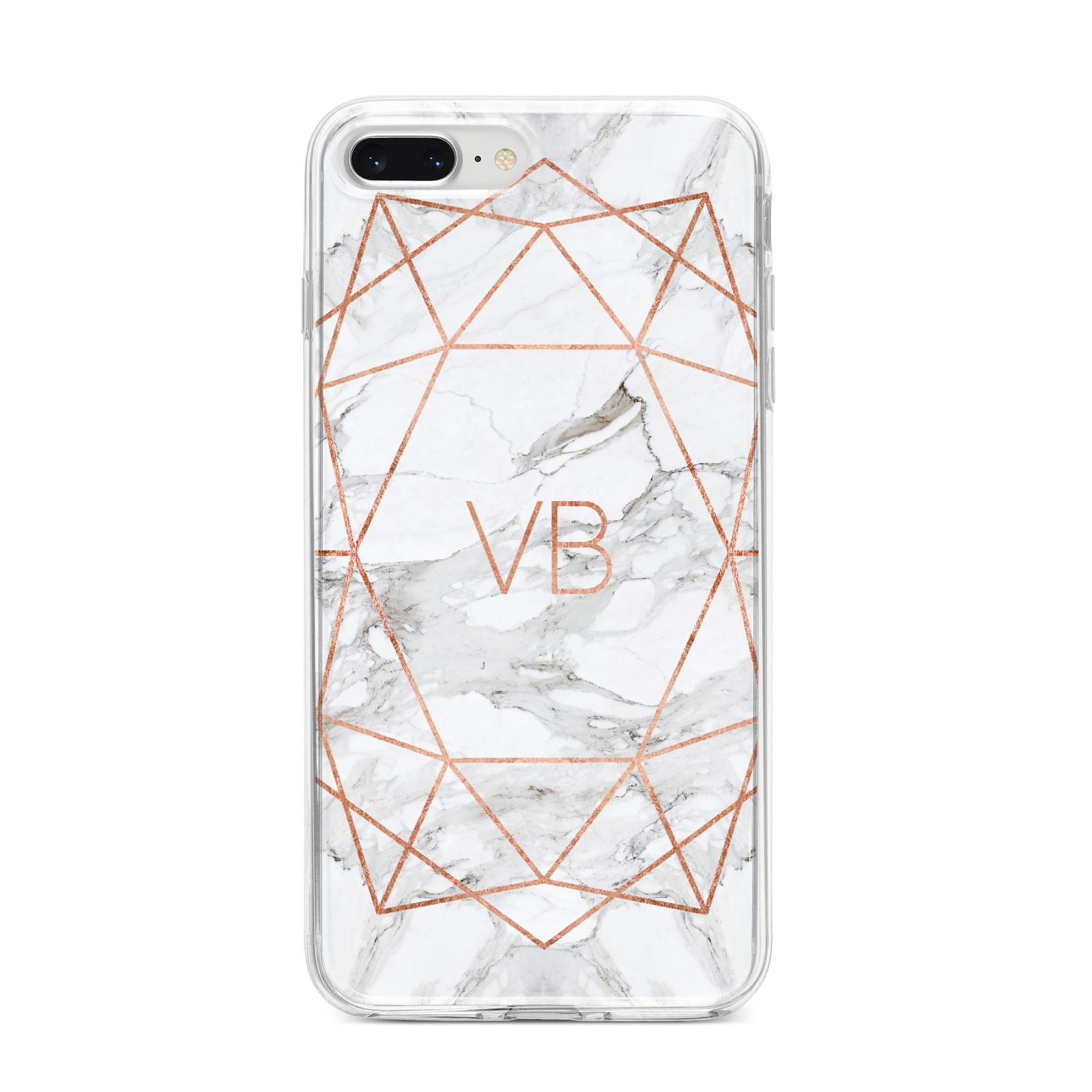 Personalised Rose Gold Marble Initials iPhone 8 Plus Bumper Case on Silver iPhone