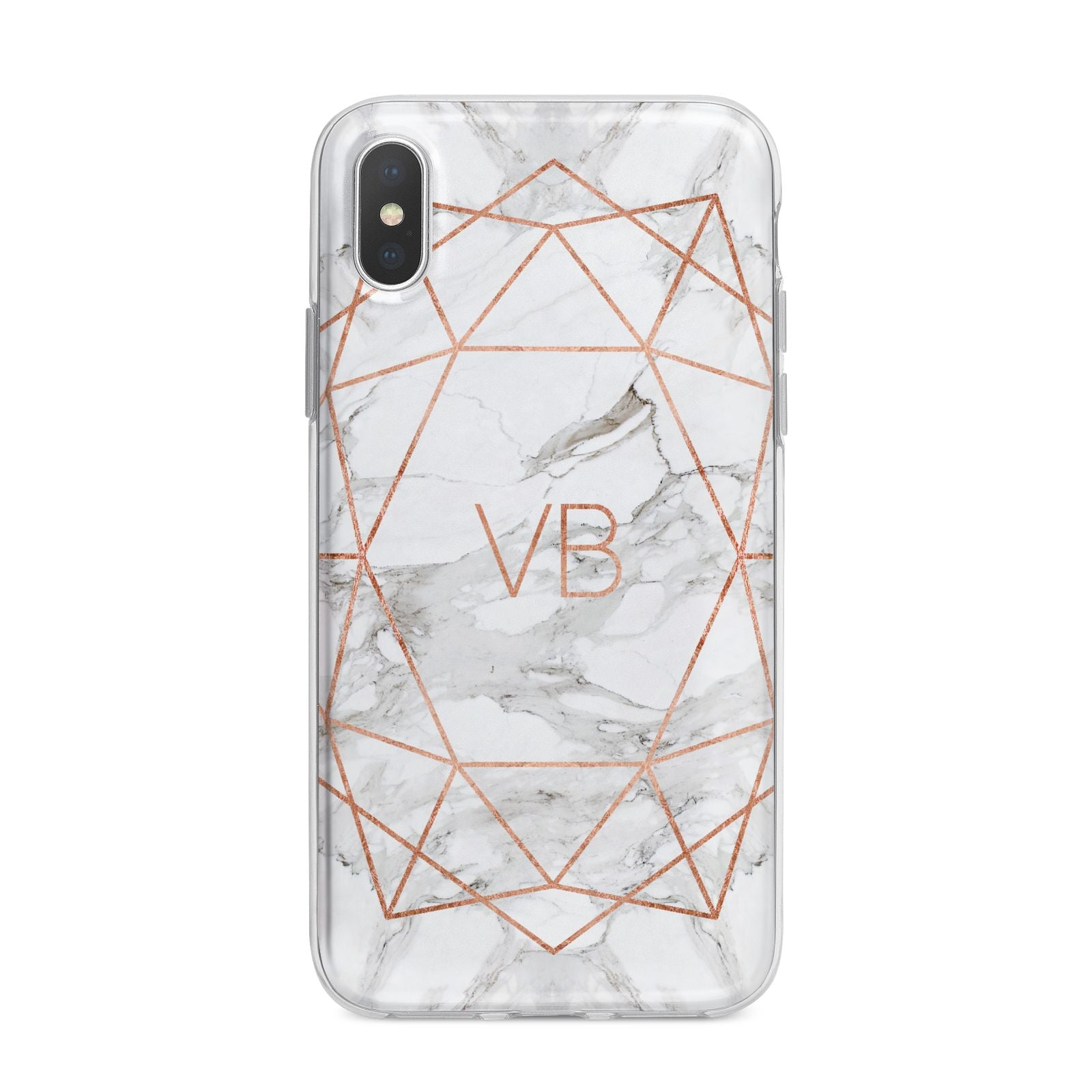 Personalised Rose Gold Marble Initials iPhone X Bumper Case on Silver iPhone Alternative Image 1