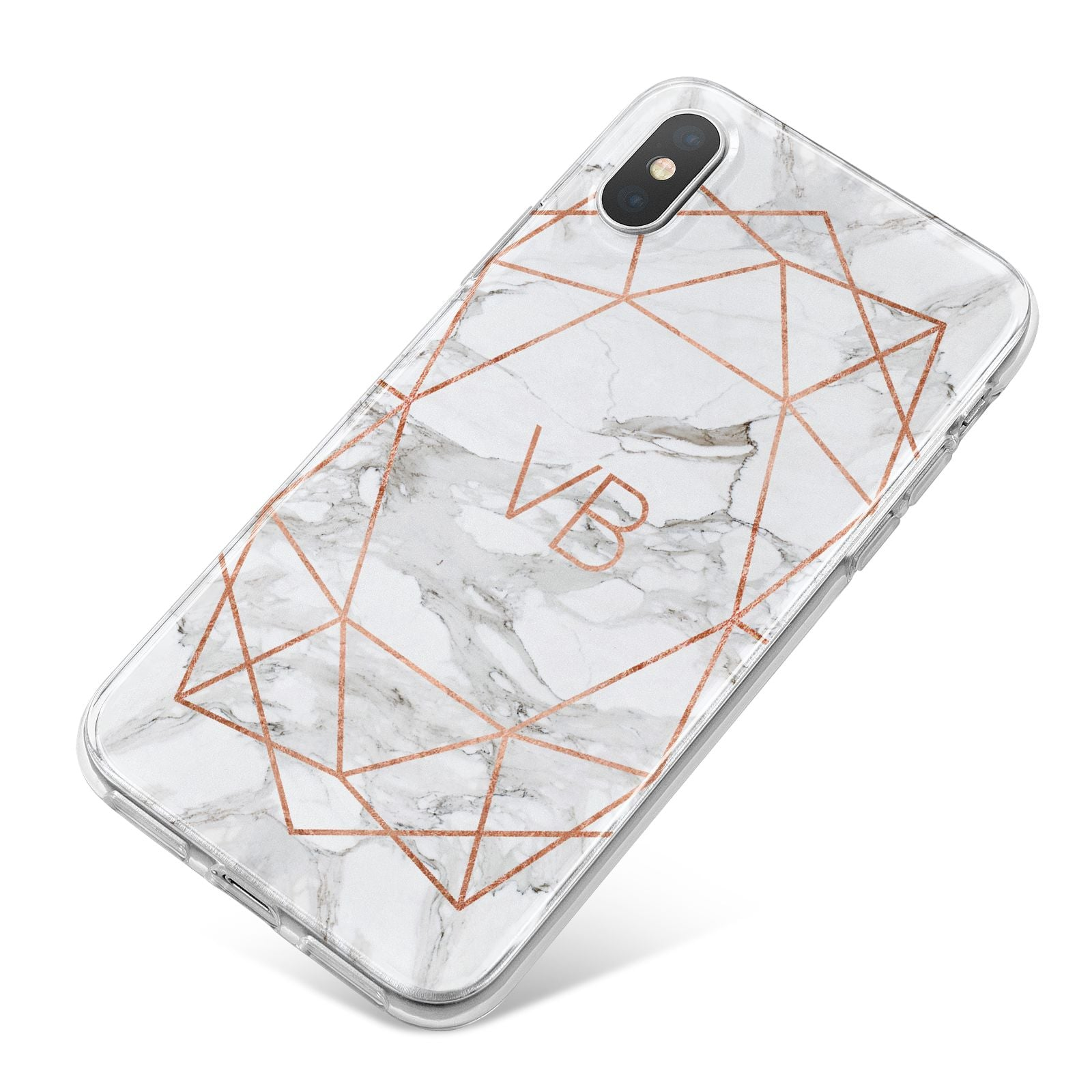 Personalised Rose Gold Marble Initials iPhone X Bumper Case on Silver iPhone