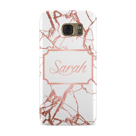 Personalised Rose Gold Marble & Name Samsung Galaxy Case