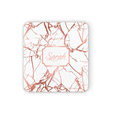 Personalised Rose Gold Marble & Name Coasters set of 4