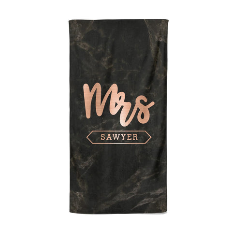 Personalised Rose Gold Mrs Surname Marble Beach Towel