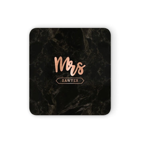 Personalised Rose Gold Mrs Surname Marble Coasters set of 4