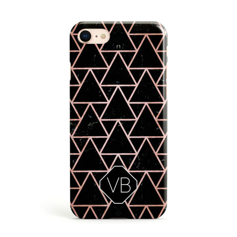 Personalised Rose Gold & Triangle Marble Apple iPhone Case
