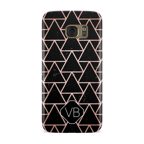 Personalised Rose Gold & Triangle Marble Samsung Galaxy Case