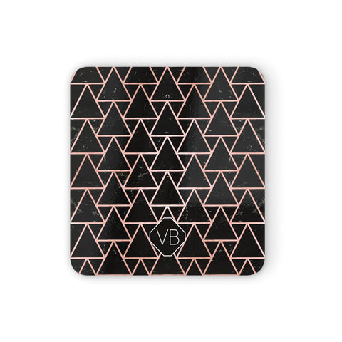 Personalised Rose Gold & Triangle Marble Coasters set of 4