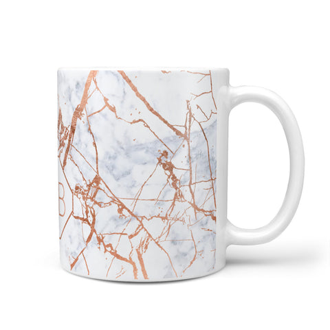 Personalised Rose Gold Vein Marble Initials Mug