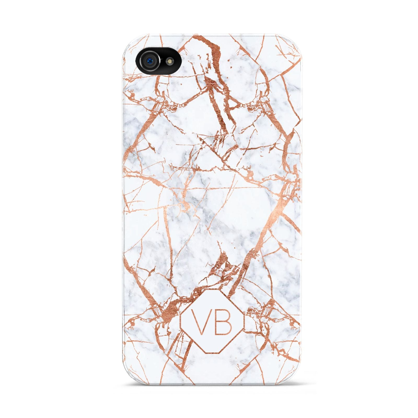 Personalised Rose Gold Vein Marble Initials Apple iPhone 4s Case