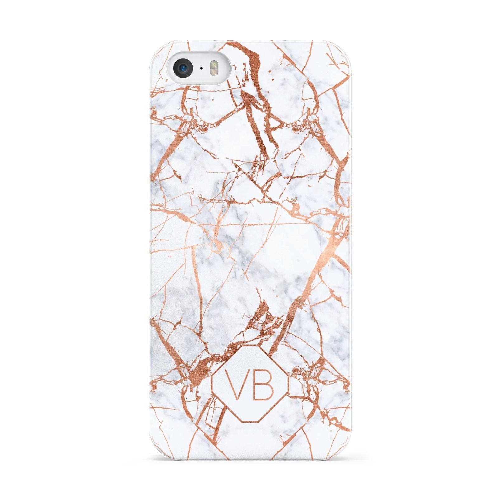 Personalised Rose Gold Vein Marble Initials Apple iPhone 5 Case