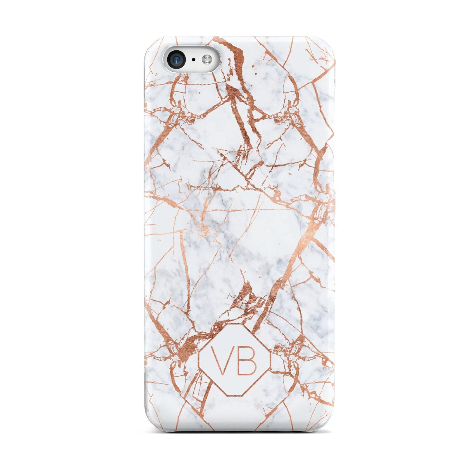Personalised Rose Gold Vein Marble Initials Apple iPhone 5c Case