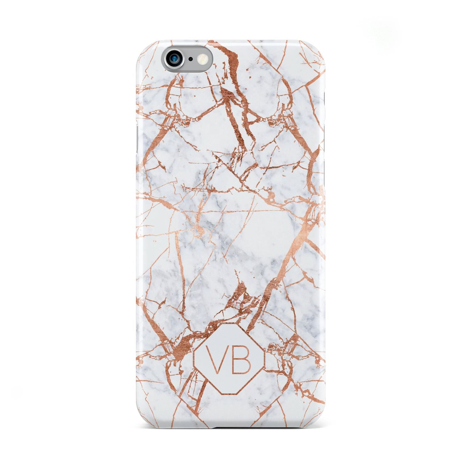 Personalised Rose Gold Vein Marble Initials Apple iPhone 6 Case