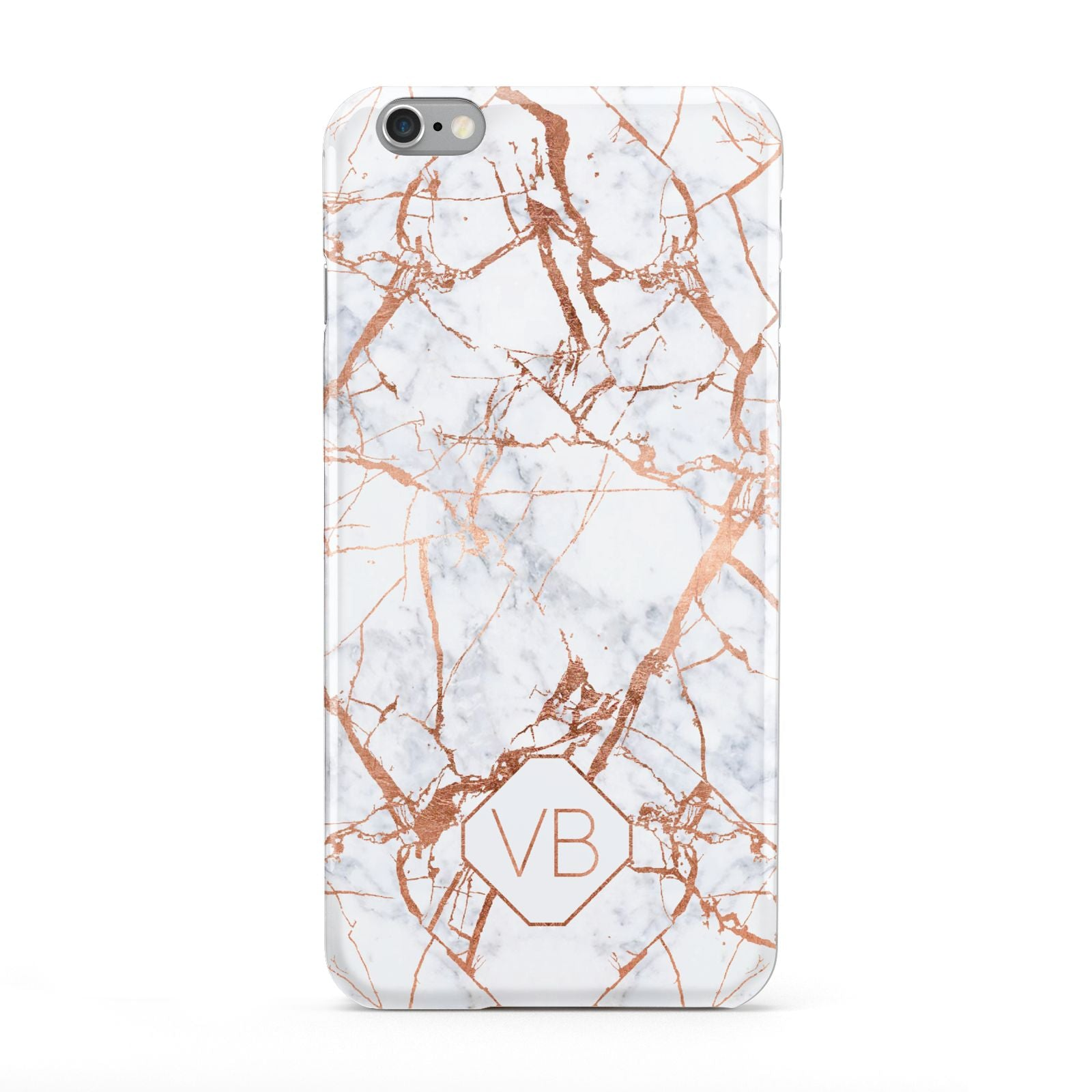 Personalised Rose Gold Vein Marble Initials Apple iPhone 6 Plus Case
