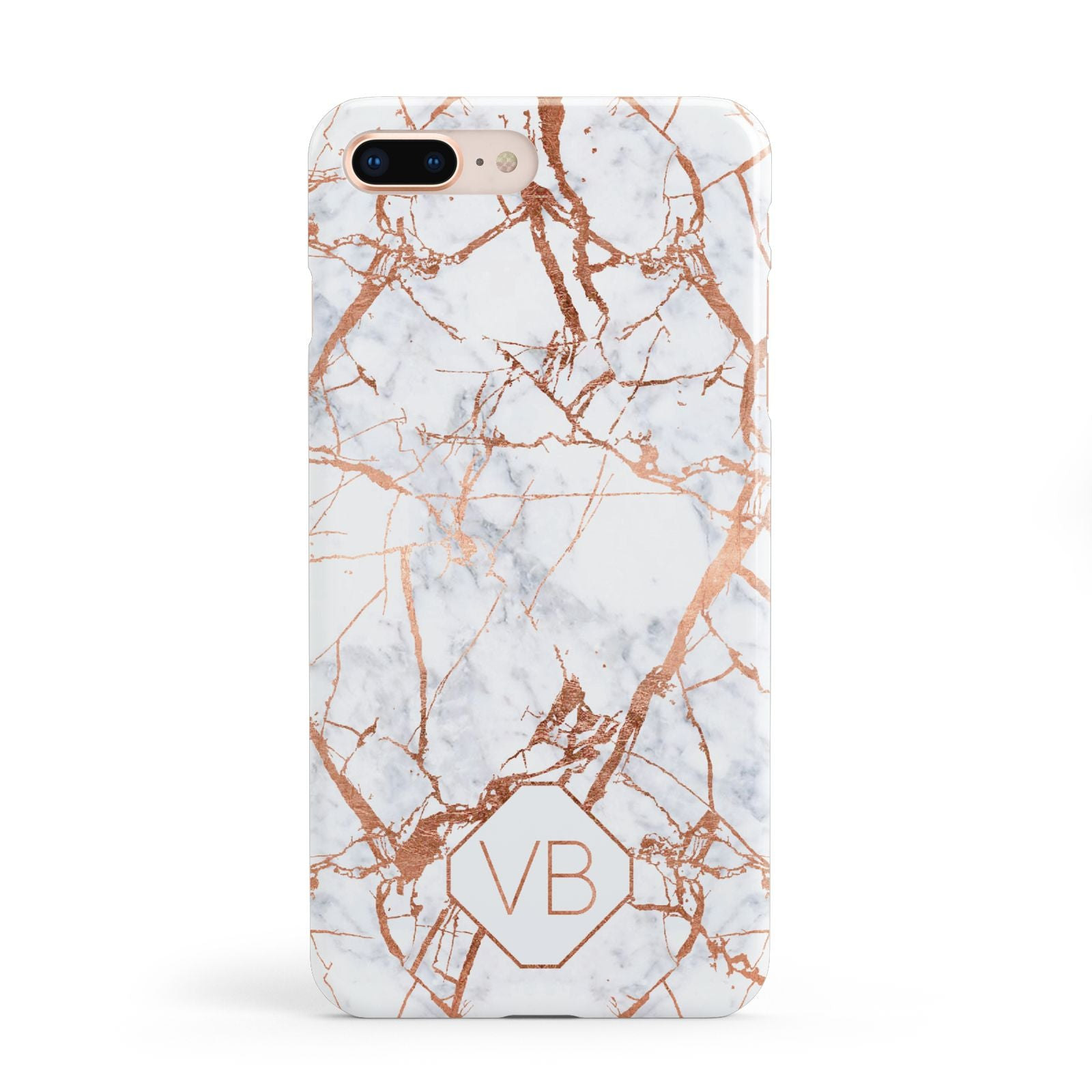 Personalised Rose Gold Vein Marble Initials Apple iPhone 8 Plus Case