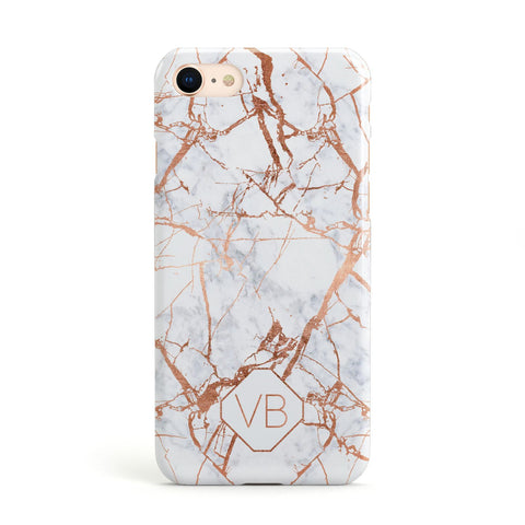 Personalised Rose Gold Vein Marble Initials Apple iPhone Case