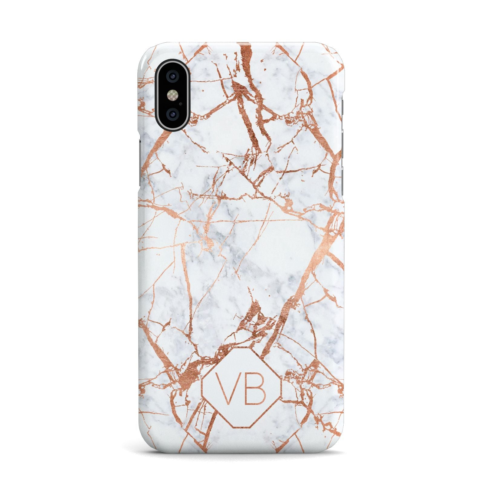 Personalised Rose Gold Vein Marble Initials Apple iPhone X Case