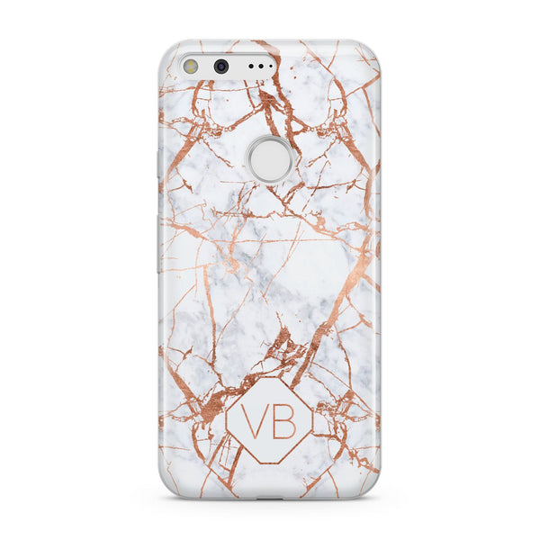competitive price 9145a 3fcb0 Personalised Rose Gold Vein Marble Initials Google Case