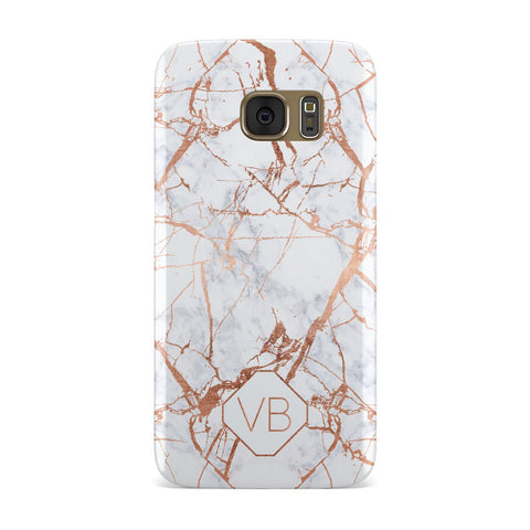 Personalised Rose Gold Vein Marble Initials Samsung Galaxy Case