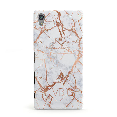 Personalised Rose Gold Vein Marble Initials Sony Xperia Case