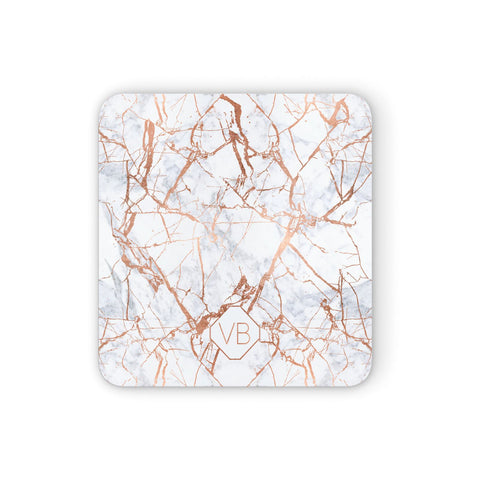 Personalised Rose Gold Vein Marble Initials Coasters set of 4