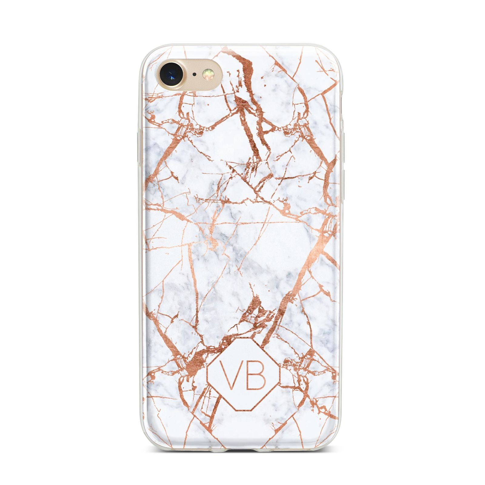 Personalised Rose Gold Vein Marble Initials iPhone 7 Bumper Case on Gold iPhone