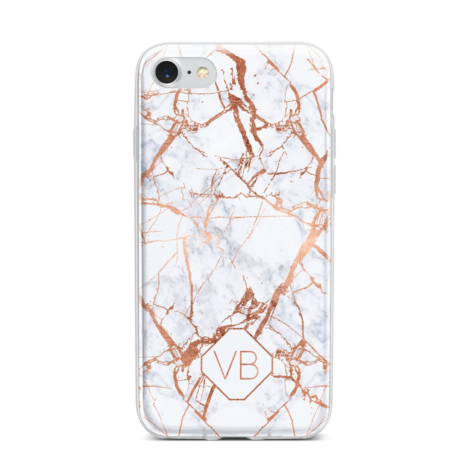Personalised Rose Gold Vein Marble Initials iPhone 7 Bumper Case on Silver iPhone