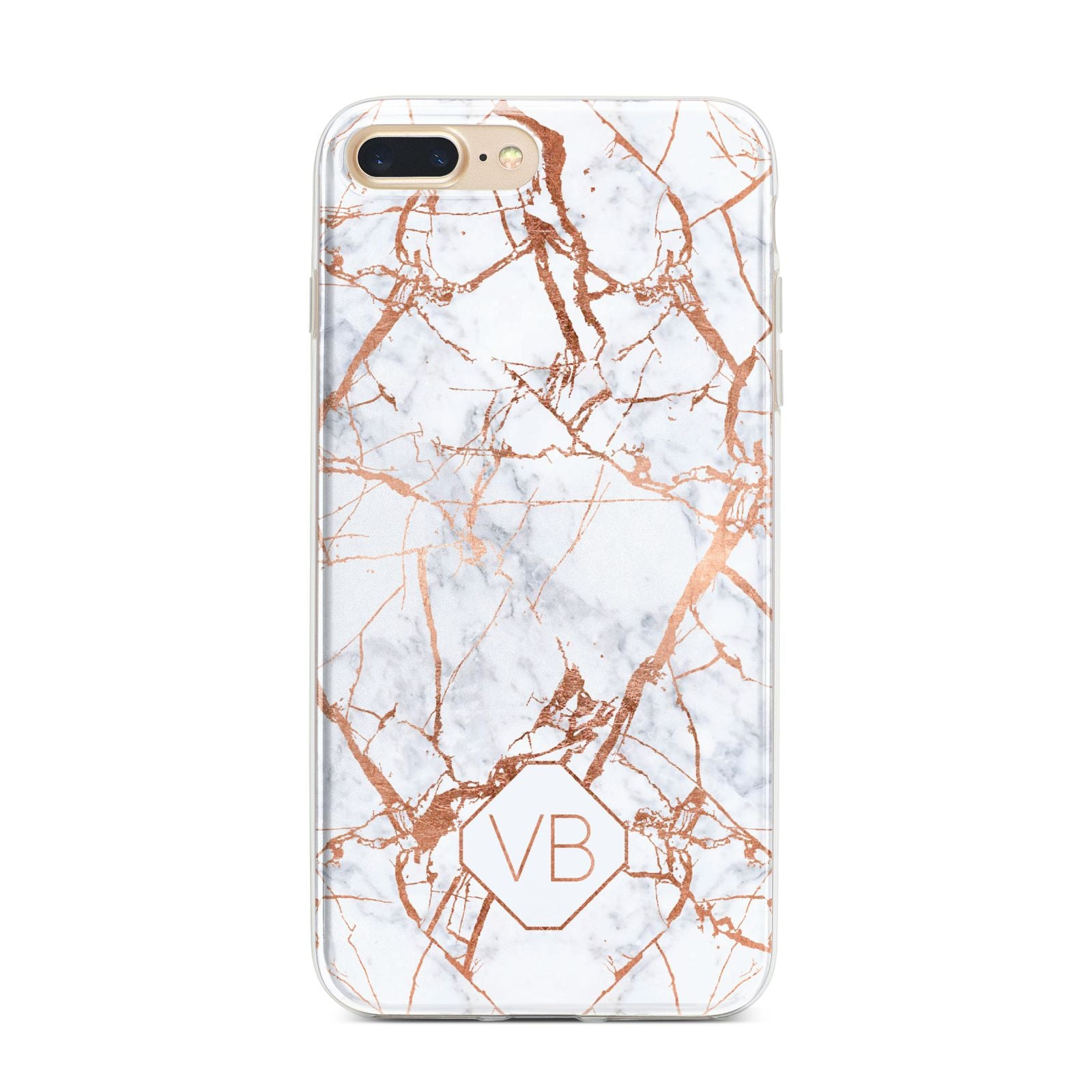 Personalised Rose Gold Vein Marble Initials iPhone 7 Plus Bumper Case on Gold iPhone