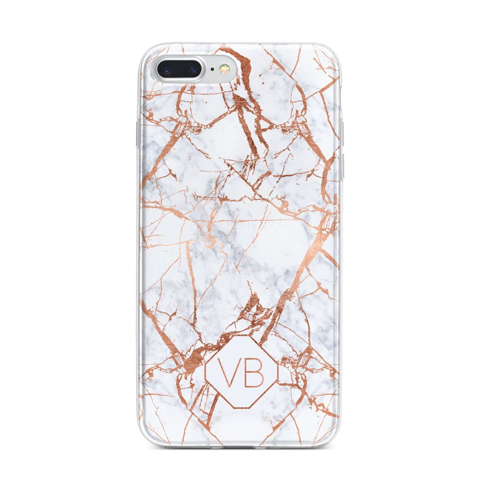 Personalised Rose Gold Vein Marble Initials iPhone 7 Plus Bumper Case on Silver iPhone