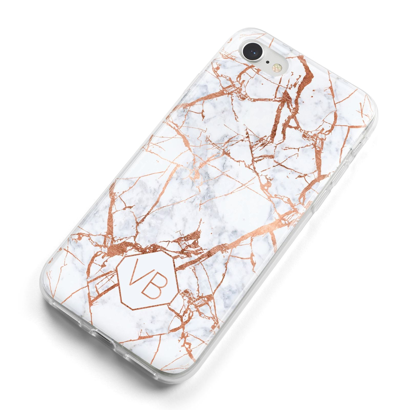Personalised Rose Gold Vein Marble Initials iPhone 8 Bumper Case on Silver iPhone Alternative Image