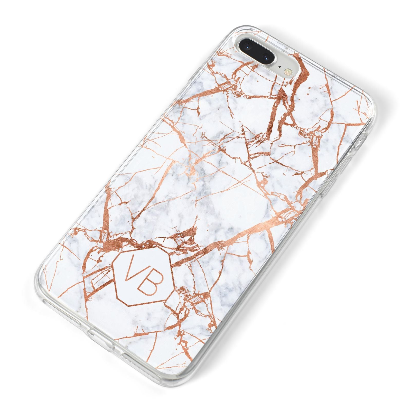 Personalised Rose Gold Vein Marble Initials iPhone 8 Plus Bumper Case on Silver iPhone Alternative Image