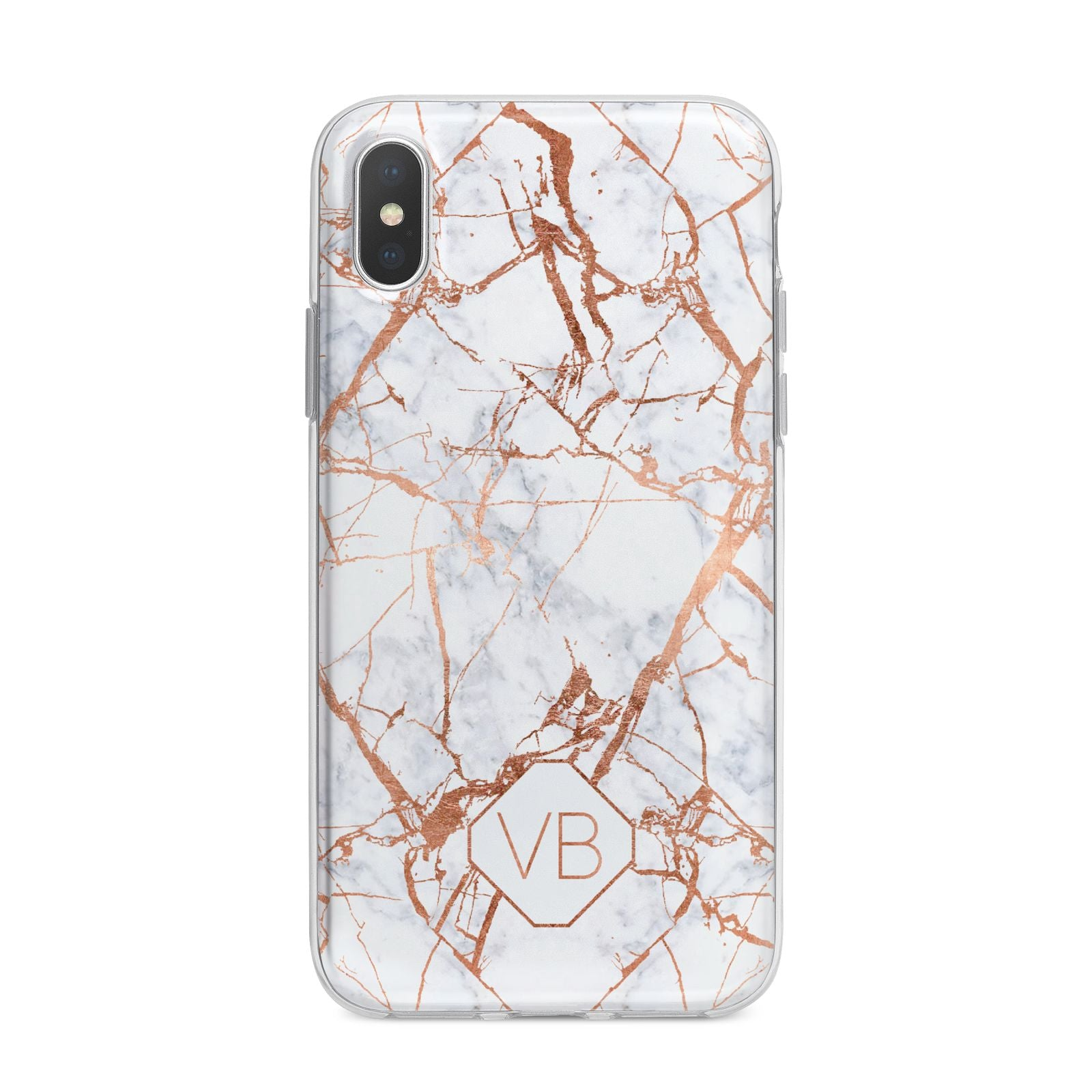Personalised Rose Gold Vein Marble Initials iPhone X Bumper Case on Silver iPhone Alternative Image 1