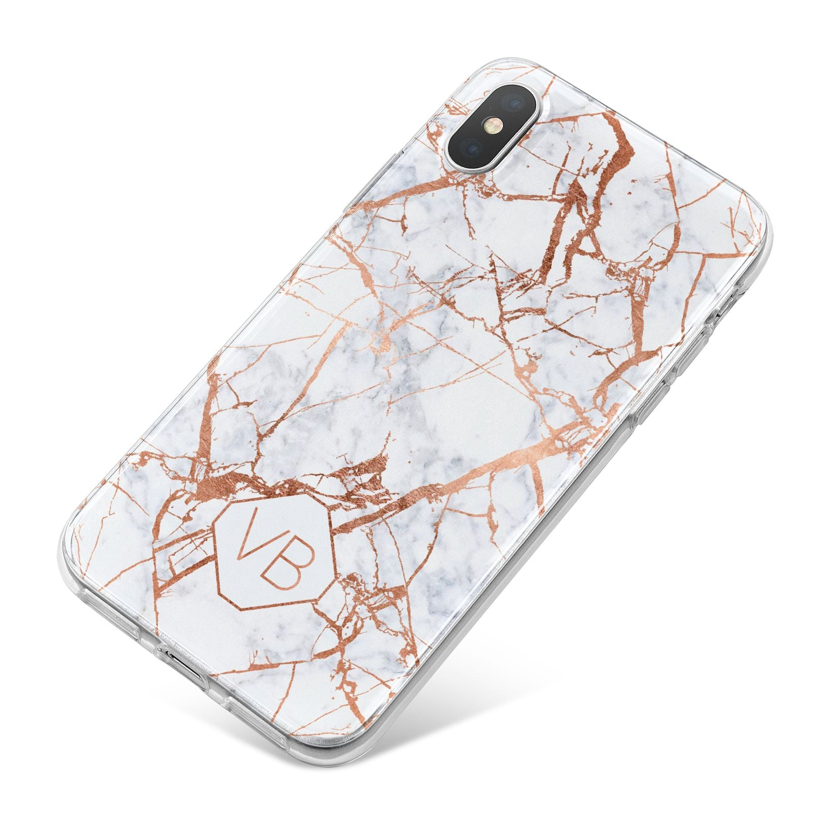 Personalised Rose Gold Vein Marble Initials iPhone X Bumper Case on Silver iPhone